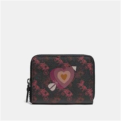 Fashion 4 Coach SMALL ZIP AROUND WALLET WITH HORSE AND CARRIAGE PRINT AND HEART