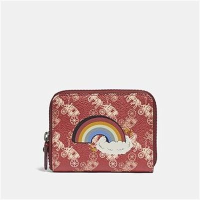 Fashion 4 Coach SMALL ZIP AROUND WALLET WITH HORSE AND CARRIAGE PRINT AND RAINBOW