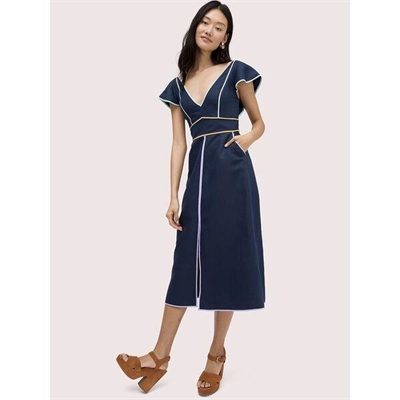 Fashion 4 - linen contrast trim dress