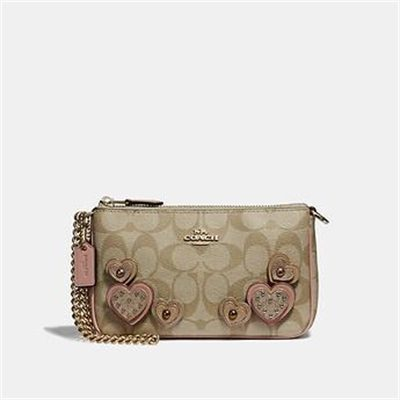 Fashion 4 Coach LARGE WRISTLET 19 IN SIGNATURE CANVAS WITH HEART APPLIQUE