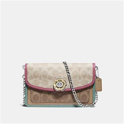 Fashion 4 Coach PARKER CROSSBODY IN BLOCKED SIGNATURE CANVAS