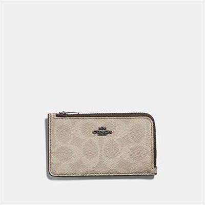 Fashion 4 Coach SMALL L-ZIP CARD CASE IN BLOCKED SIGNATURE CANVAS