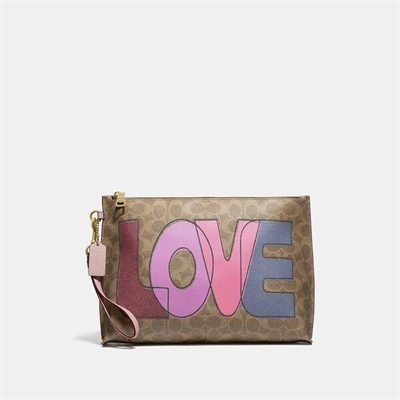 Fashion 4 Coach Charlie Pouch In Signature Canvas With Love Print
