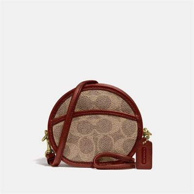 Fashion 4 Coach Circle Coin Case In Signature Canvas