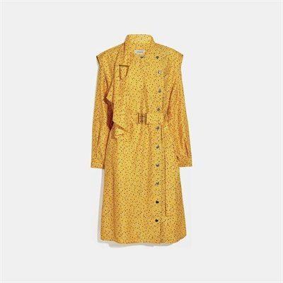 Fashion 4 Coach Dot Print Architectural Drape Belted Dress