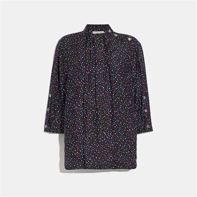 Fashion 4 Coach Dot Print Short Sleeve Blouse