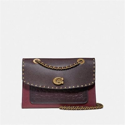 Fashion 4 Coach Parker In Signature Leather With Rivets