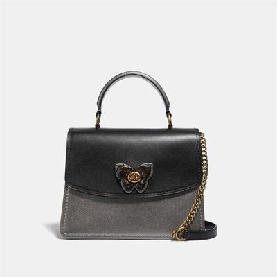 Fashion 4 Coach Parker Top Handle With Butterfly Turnlock And Snakeskin Detail