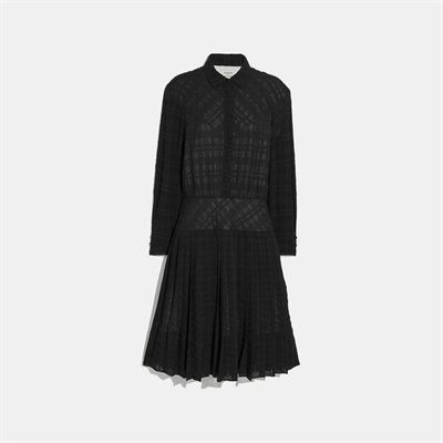 Fashion 4 Coach Plaid Pleated Shirt Dress