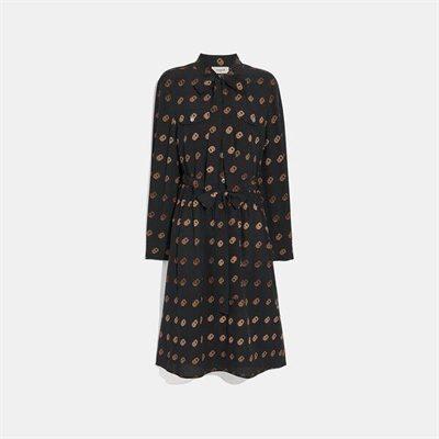 Fashion 4 Coach Print Tie Neck Dress