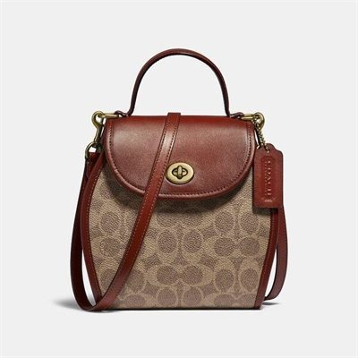 Fashion 4 Coach Turnlock Curved Top Handle Crossbody In Signature Canvas