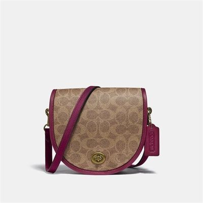 Fashion 4 Coach Turnlock Saddle Crossbody In Signature Canvas