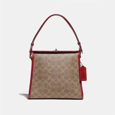 Fashion 4 Coach Turnlock Shoulder Bag In Signature Canvas