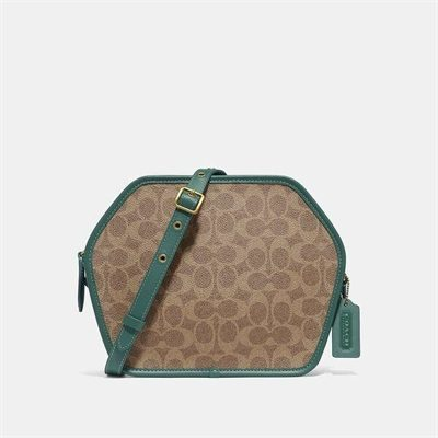 Fashion 4 Coach Zip Geometric Pouch In Signature Canvas
