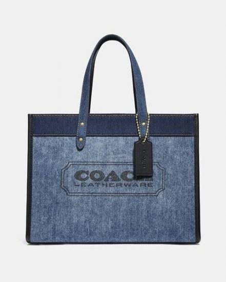 Fashion 4 Coach Denim with Coach Branding Field Tote 30