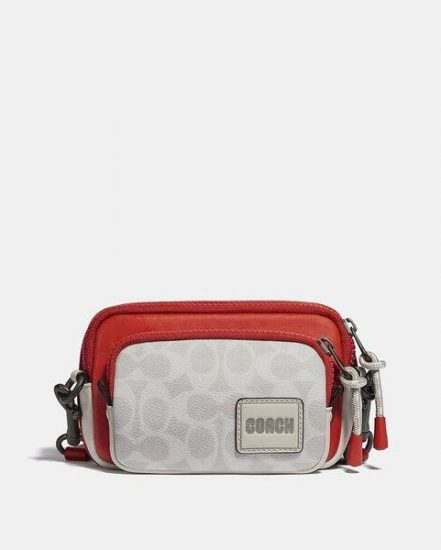 Fashion 4 Coach Pacer Convertible Double Pouch In Colorblock Signature Canvas With Coach Patch