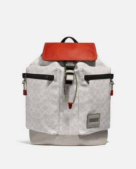 Fashion 4 Coach Pacer Utility Backpack In Signature Canvas With Coach Patch