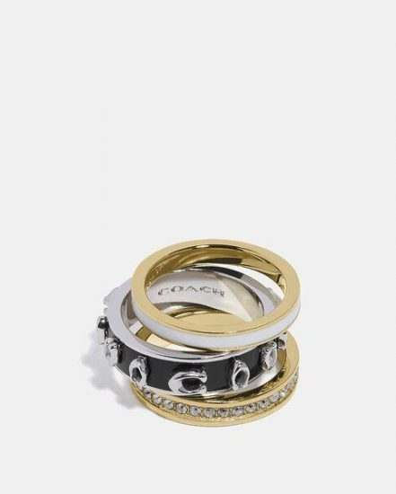 Fashion 4 Coach Pegged Signature Ring Set