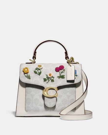 Fashion 4 Coach Tabby Top Handle 20 In Signature Canvas With Floral Embroidery