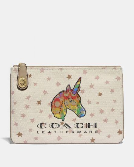 Fashion 4 Coach Turnlock Pouch 26 With Rainbow Signature Uni
