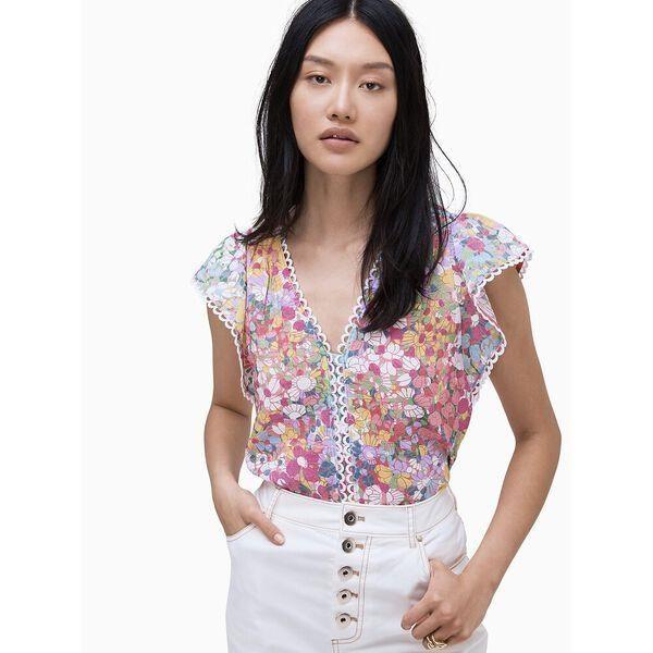 Fashion 4 - floral dots burnout top