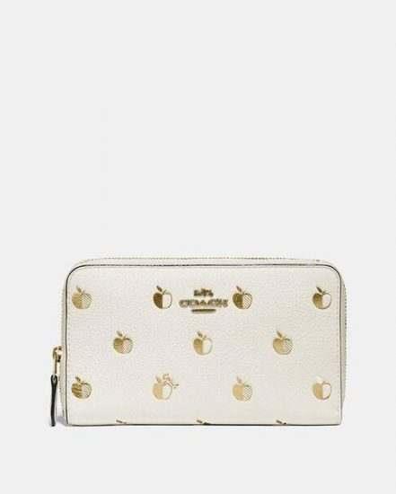 Fashion 4 Coach Medium Zip Around Wallet With Apple Print