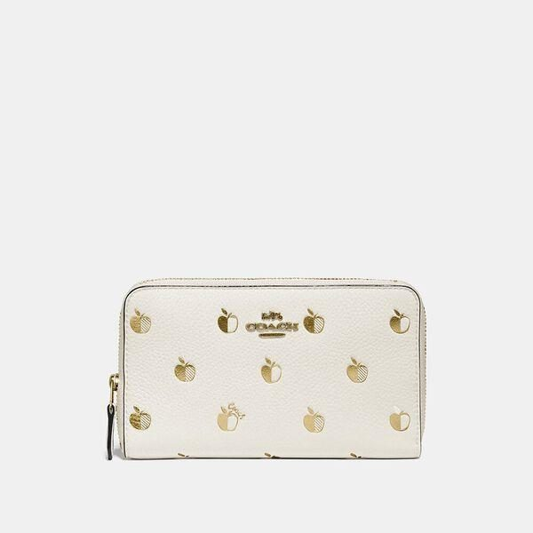 Fashion 4 Coach Medium Zip Around Wallet With Apple Print