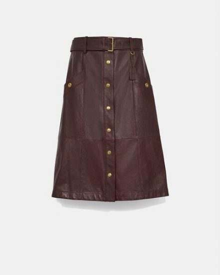 Fashion 4 Coach Snap Front Leather Skirt