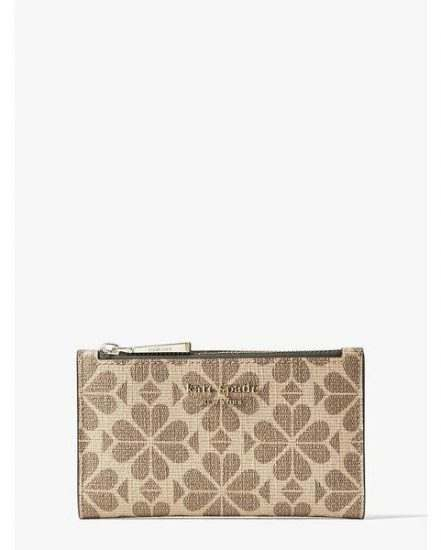 Fashion 4 - spade flower coated canvas small slim bifold wallet