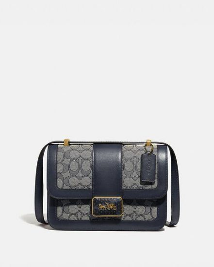 Fashion 4 Coach Alie Shoulder Bag In Signature Jacquard With Snakeskin Detail