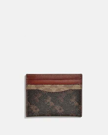 Fashion 4 Coach Card Case In Signature Canvas With Horse And Carriage Print