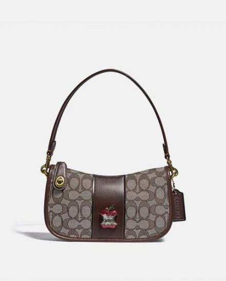 Fashion 4 Coach Swinger Bag In Signature Jacquard With Apple