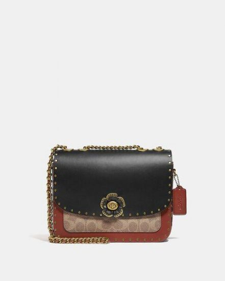 Fashion 4 Coach Madison Shoulder Bag In Signature Canvas With Rivets And Snakeskin Detail