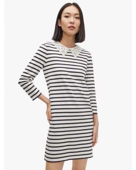 Fashion 4 - lace collar striped tee dress
