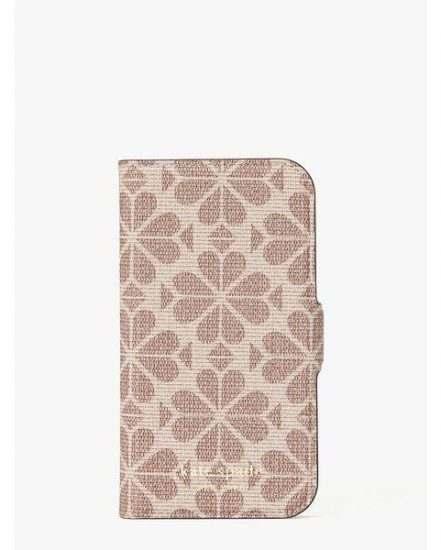 Fashion 4 - spade flower coated canvas iphone 12 mini magnetic wrap folio case