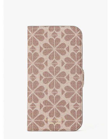 Fashion 4 - spade flower coated canvas iphone 12 pro max magnetic wrap folio case