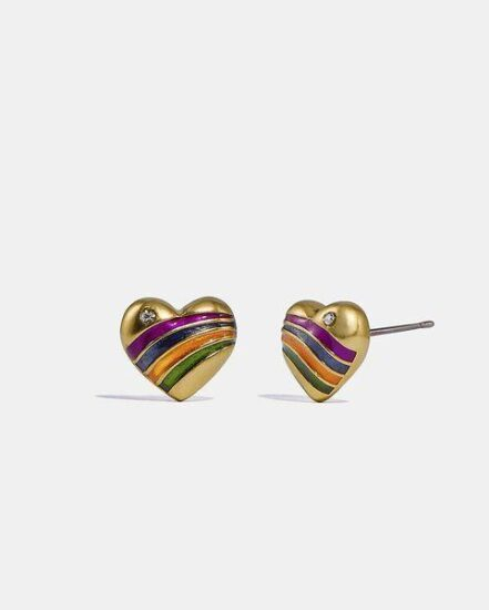 Fashion 4 Coach Rainbow Heart Stud Earrings