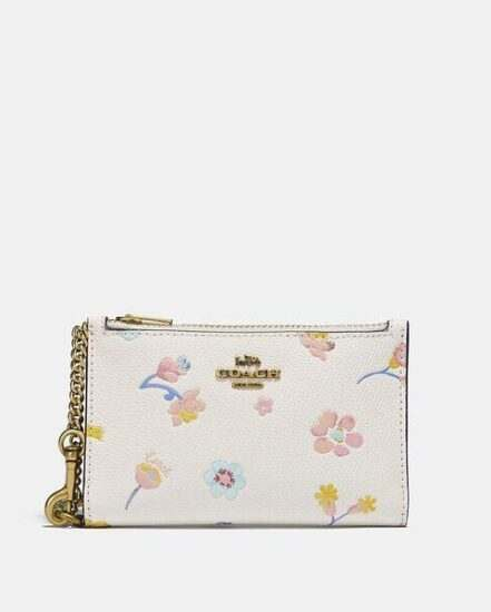 Fashion 4 Coach Zip Chain Card Case With Watercolor Floral Print