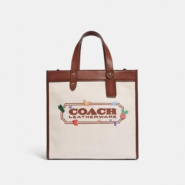 Fashion 4 Coach Field Tote With Garden Embroidery Coach Badge