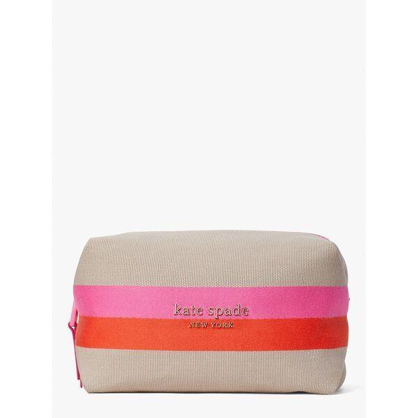 Fashion 4 - stripe logo canvas large cosmetic case